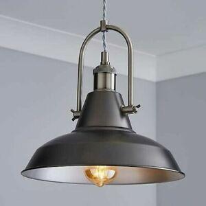 Lucas Industrial Style Black Spun Metal 1 Light Fitting Ceiling Light Boxed