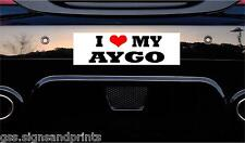 150x50mm approx I LOVE MY AYGO -  STICKER PRINTED CAR DECAL JOKE FUNNY