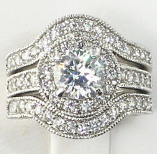 ANTIQUE HALO 2.15 CT. Cubic Zirconia Bridal Wedding 3 PC. Ring Set - SIZE 6