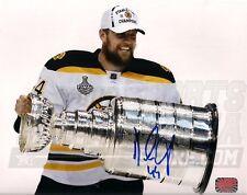 Dennis Seidenberg Boston Bruins Signed Holding Stanley Cup 8x10 - Horizontal