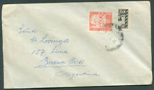 BOLIVIA TO ARGENTINA Cover 1941 w/bisected Postage VF