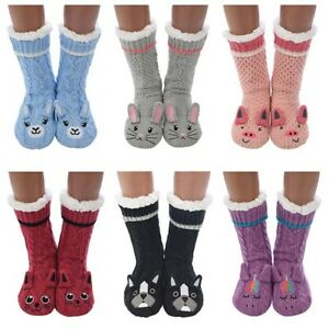 New Snoozies -Warm Cosy Sherpa Lined Animal Socks - one size fits all size 3-7