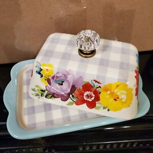 Pioneer Woman Sweet Romance Double Butter Dish Gingham
