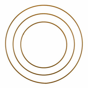 Set of Three Gold Basic Metal Hoops for Floristry or Macrame Crafts, 15,20,25cm