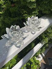 "Godinger Shannon Crystal ""Lotus� Single-Light Candle Holders – Pair/Set Of 2"