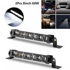 2x Ultra Thin Single Row 8'' 6000K Xenon White Off-Road LED Spot Work Light Bar