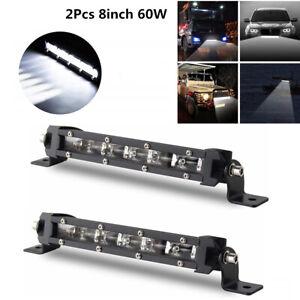 2x Ultra Thin Single Row 8'' 6000K Xenon White Off-Road LED Spot Work Light Bar