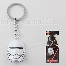 Star Wars Clone Trooper Mask Metal Pendant Key Ring Chain White NIB #02