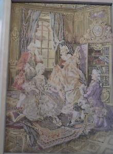 "VTG Gobelin Belgium Tapestry Loomed Boucher Art Gallantries Rococo 13""W x 19""H"