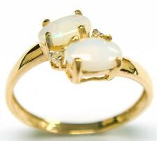 LADY'S 10KT YELLOW GOLD OPAL & DIAMOND RING SIZE 7 NR!    R958