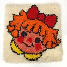 Latch Hook Rug Vintage Pillow Wall Hanging Little Girl Kitsch Craft Homemade