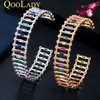 Schick Regenbogen 585 Gold Zirkonia Öffnen Manschette Armband Armreif für Frauen