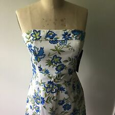 Donna Ricco Fitted Strapless Floral Sundress Size 6 Stretch Cotton Blue White L3