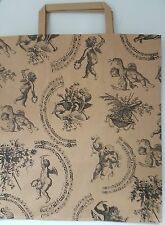 """20 Kraft Cherub Vintage printed large paper carrier bags for gift, shop 10x12x5"""""""