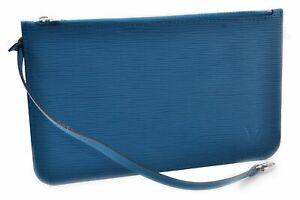 Authentic Louis Vuitton Epi Neverfull Pouch Purse Clutch Blue LV 92670