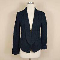 Ann Taylor Loft 4 Eyelet Floral Blazer Jacket Navy Blue Open Front
