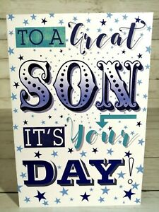 To A Great Son It's Your Day, Happy Birthday Card, Blue Stars