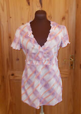 ESPRIT ivory off-white aqua purple orange check short sleeve tunic top 12 40
