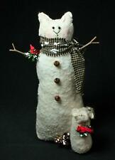 Hand-Crafted Primitive Felted Wool Snow Cat And Mouse