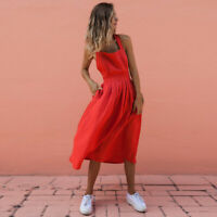 Sexy Backless Criss Cross Pleated Midi Dress Bandage Pleated Summer Sundress