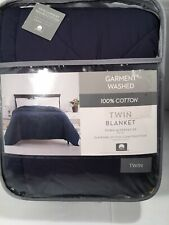 Garment Washed Down Alternative Quilted Twin Blanket Navy