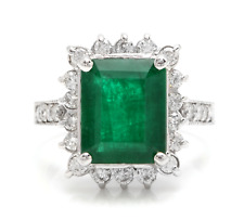5.40Ct Natural Emerald & Diamond 14K Solid White Gold Ring