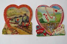 2 ~ Antique 1930's Germany Valentines - Blimp & Train
