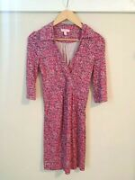 Lilly Pulitzer Women's Cursive Jersey Silk Wrap Collar Dress size 0
