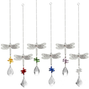 Crystal Home Decor Lamp Ornament Maple Pendant Ball Prisms Dragonfly Colorful