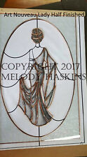 ART NOUVEAU LADY STAINED GLASS or COPPER FOIL PATTERN WINDOW or MIRROR PATTERN