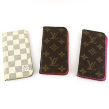 Auth LOUIS VUITTON IPHONE6 / 7 FOLIO Case Monogram Damier Azur 3 Pieces Set