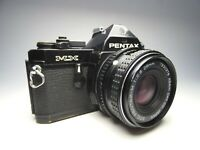vintage slr camera pentax mx black with lens 1:2.8 28mm (working) used read
