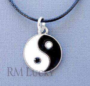 "Yin Yang Pendant Necklace Cord Surfer Choker Black 18 1/2"" b14"