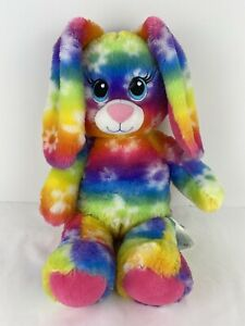 "RAINBOW TIE-DYE BUNNY rabbit retired BUILD A BEAR workshop plush dyed 17"" Tall"