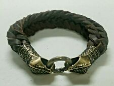 Genuine Leather Cuff bracelet Twin Cobras Metal brooch Handmade in Mexico Snakes