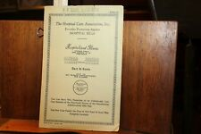 Antique 1935 Hospital Care Association Pamphlet Insurance Durham NC P.P. Lamm