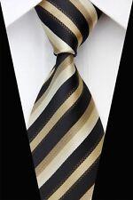 PT0465 Beige Black Stripe Classic Silk Jacquard Woven Man's Casual Tie Necktie
