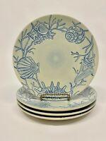 Pottery Barn Blue Embossed Seashell Shell Salad Plates - Set/4