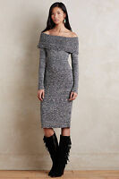 Anthropologie Sweater Dress Off the Shoulder Sojourn Pencil Midi By Moth Size XS