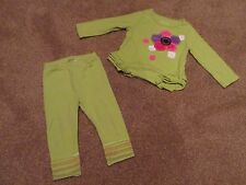 2pc Girls size 6-9m First Impressions Lime Green Shirt & Leggings Set