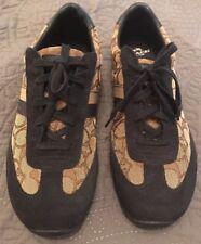 COACH Women's Size 11 Khaki Cotton SIG C Navy Suede KELSON Tennis Shoe