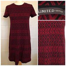 Marks And Spencer Size 10 Dress Red Black Striped Geometric Short Sleeve Jumper