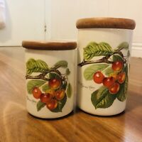 Collectable Vintage Portmeirion Pomona Cherry Pots Jars Canisters England X2