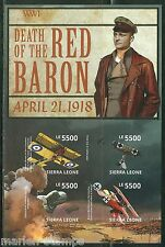 SIERRA LEONE 2014 CENTENNARY OF WORLD WAR I  DEATH OF RED BARON SHEET  IMPERF NH