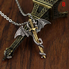 Stainless Steel Luminous Fly Dragon Sword Pendant Chain Necklace Mens JewelSE