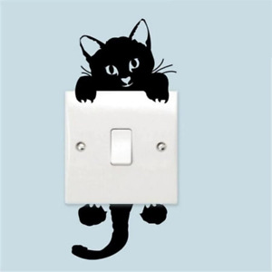 Switch Black Cute Cat Wall Stickers Home Decor Nursery Room Art For Living Room