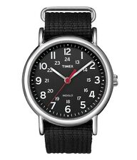 Timex T2N647 Men Weekender Watch Black Nylon Strap Indiglo Quartz Buckle Analog