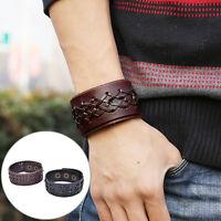 Punk Men Womens Wide PU Leather Belt Bracelet Cuff Wristband Bangle Gift EBTY