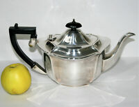 Antique Queen Anne Style Teapot, Harrison Fisher, Silver Plated,Bakelite Handles