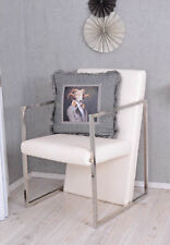 Armchair Ostrich-Leather-Look White Loungechair Loftchair